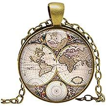 Mundo mapa collar colgante antiguo antiguo Atlas imagen Vintage collar mujeres accesorios