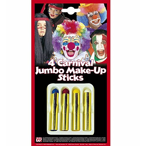 Widmann Lot de 4 bâtonnets de maquillage géants Clown