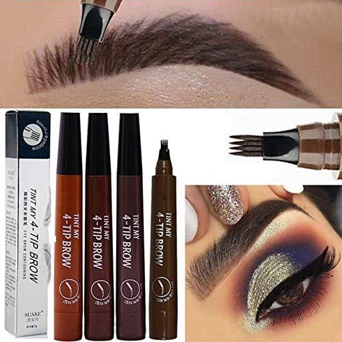 4pcs / ensemble 3D Crayon Sourcil Imperméable Stylo à sourcils liquide Gel liquide longue durée Tatouage Crayon à Sourcils avec 4 conseils Fork Tip Fine Sketch Tattoo Eyebrow Pen