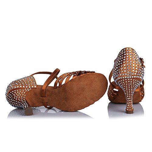 HIPPOSEUS Donna Ballroom Scarpe da Ballo/Sala da Ballo Scarpe/Scarpe da Ballo Latino Standard di Raso&Strass,Modello-ITAFCT459 Marrone