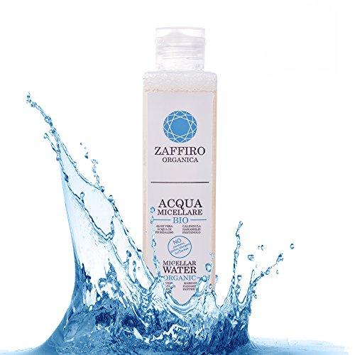 Zaffiro Organica Agua Micelar Ecologica Desmaquillante Facial con ALOE vera, 3 en 1: Limpia, tonifica e hidrata para cara ojos y labios| Ideal para piel grasa, sensible, seca, mixta. Hombre y Mujer