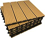 36 x Interlocking Composite Sonnendeck Fliesen – Teak click-deck Terrasse, Garten, Balkon, Hot Tub. 30 cm quadratisch Deck Tile