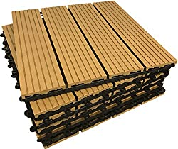 6x COMPOSITE Decking Tiles - TEAK - Click-Deck - Patio, Balcony, Roof Terrace, Hot Tub Deck Tiles Flooring Decking (6 x Composite Tiles)