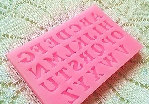 Lugii Cube 1pièce Coque en silicone plateaux de lettre de l'alphabet Moule à chocolat fondant gâteau outils