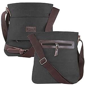 DMG Vintage Shoulder Canvas Messenger Crossbody 11 inch Bag Travel Rucksack [Best for College/Travel] (Black)