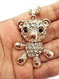 Best Regalos de la joyería para todas las estrellas collares amigo - qtmy oso crystal Diamond Mono declaración gargantilla largo Review