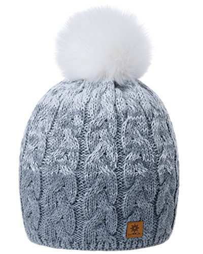 MFAZ Morefaz Ltd Damen Herren Winter Beanie Strickmütze Mütze Wurm Fleece Bommel Fashion Ski (Grey White)