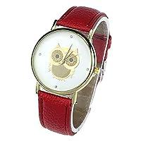 Bocideal 1PC Red Fashion Women Girl Gold Owl Pattern WristWatch Leather Quartz Watch