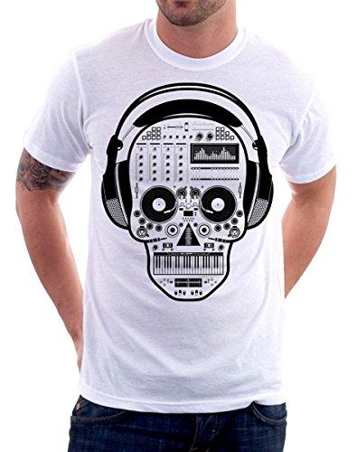 t-shirt skull, dj, cuffie - music - S M L XL XXL maglietta by tshirteria bianco