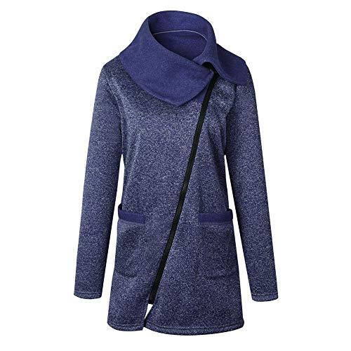 BHYDRY Damen Elegant Freizeitjacke Mantel Frauen UnregelmäßIg Revers Langes ReißVerschluss-Sweatshirt Outwear Tops