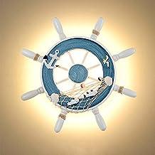 iBalody Lámpara de pared decorativa de estilo mediterráneo Lámpara de pared de LED Helmsman de timón