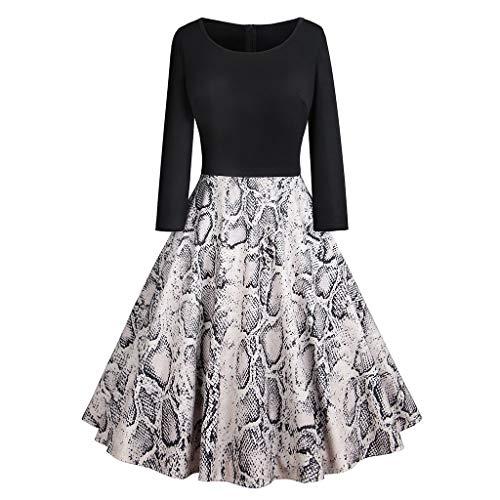 Qmber Kleider Damen Kleid 1950er Vintage Retro Brautjungfernkleid Petticoat Lange Ärmel Ballkleid Hepburn, Weihnachten Halbe Hülsen Spitze Patchwork Kleid Partei Kleid(Large,13)