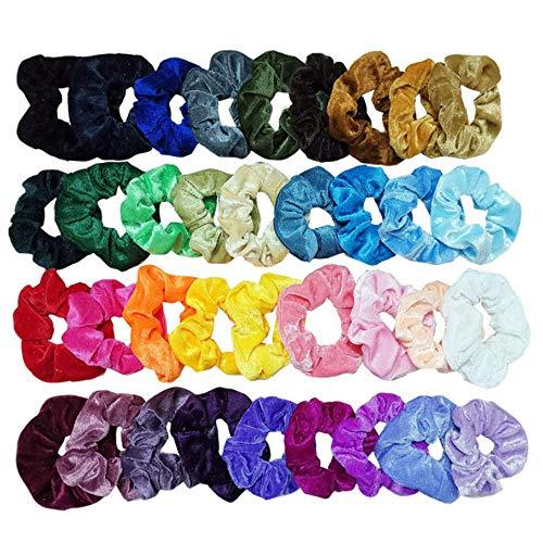 EasyULT 36 Colores Velvet Elástico Hair Scrunchies,Lazos