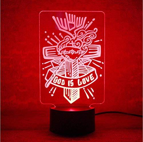 (Blbling Gott Ist Liebe Kreuz Lampe 3D Usb Led Visuelle Nachtlichter Mode Buchstaben Schlafen Nachtlichter Visuelle Tischlampe Decor Leuchte)