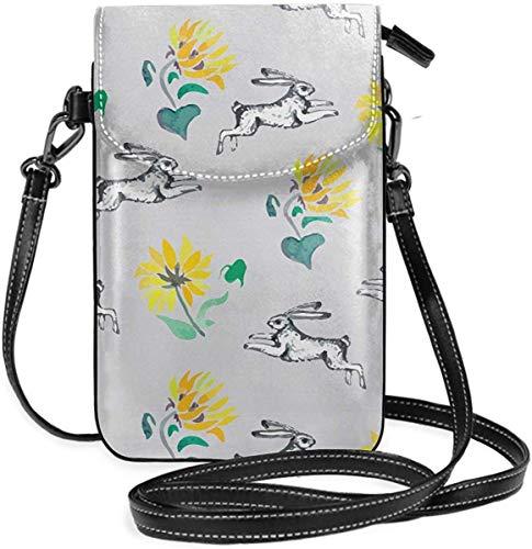 NA Handytasche Geldbörse - Damen kleine laufende Kaninchen und Sonnenblumen Umhängetasche Handtasche