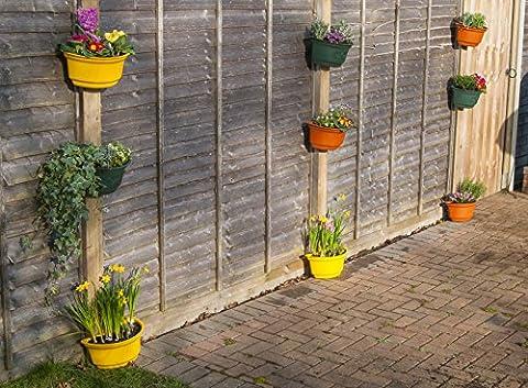 9x Premium incurvé Pots de jardin pour clôtures–Coloré et beau Vert, Jaune, Noir et en terre cuite décoratifs moyennes 4-litre Pot de fleurs Pots de fleurs avec fixations pour les murs, clôtures, poteaux en bois 4 litre 9 x Black