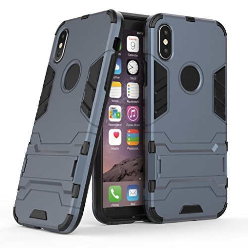 Custodia per iPhone X Cover , YIGA nero Rugged Armor Dual Layer Ibrida PC + TPU Case Cover Shockproof Protezione Custodia Supporto Bumper Back Cover with Stand Kickstand per Apple iPhone X (5,8 pollic darkblue