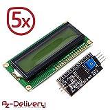 AZDelivery ⭐⭐⭐⭐⭐ 5 x HD44780 1602 LCD Modul Display Bundle mit I2C Schnittstelle 2x16 Zeichen mit gratis eBook! (mit grünem Hintergrund)