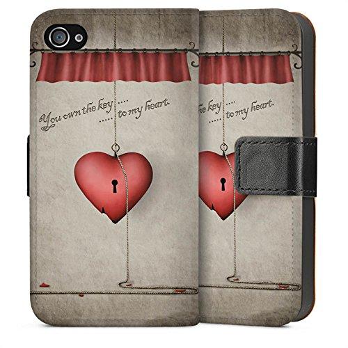Apple iPhone 4 Housse Étui Silicone Coque Protection C½ur Phrase Clés Sideflip Sac