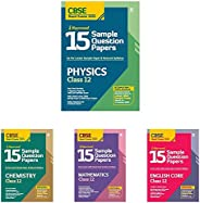 15 Sample Papers Combo for CBSE Class 12 Physics, Chemistry, Mathematics & English Core 2021 Exam with red