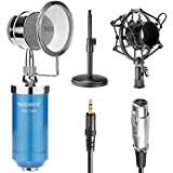 Neewer® Blue NW-1500 Desktop Broadcast & Recording Condenser Microphone With 3.5mm Male To XLR Female Cable, Adjustable Iron Desktop Mic Stand, Metal Shock Mount And Build-in Pop Filter