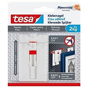 tesa® Verstellbarer Klebenagel für Tapeten und Putz, spurlos wiederablösbar, wiederverwendbar (2 kg / 3er Pack = 6 Nägel)