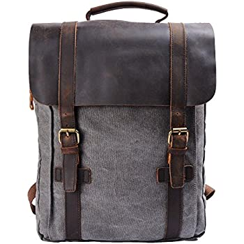 44689516db7 VASCHY Vintage Canvas Leather Backpack Campus Book-Bag Outdoor ...