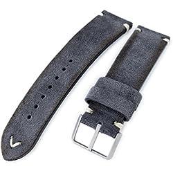 21mm MiLTAT Dark Grey Genuine Nubuck Leather Watch Strap, Beige Stitching, Sandblasted