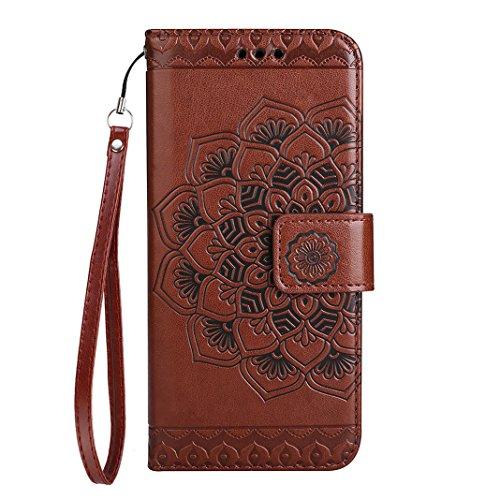 iPhone 7 Plus Leder Hülle Mandala, Rosa Schleife PU Ledertasche Flip Wallet Book Cases TPU inner Soft Backcover Mandala Muster Schutzhülle mit Magnetverschluss und Standfunktion Handyhülle für iPhone  Braun