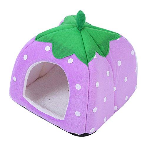 Basket Et Kostüm - Trifycore Nette weicher Schwamm-Erdbeere-Haustier Hund Katze House Bed Warm Kissen Basket Small Size Lila, Kleintiere liefern
