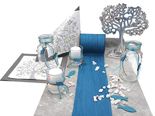 ZauberDeko Tischdeko Kommunion Konfirmation Petrol Blau Grau Baum des Lebens Set 20 Personen Fisch