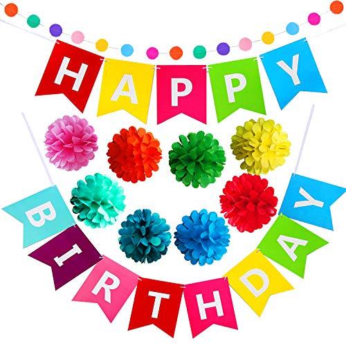 (Geburtstag Party Dekoration, Geburtstagsdeko, Happy Birthday Girlande - für Mädchen und Jungen Jeden Alters)