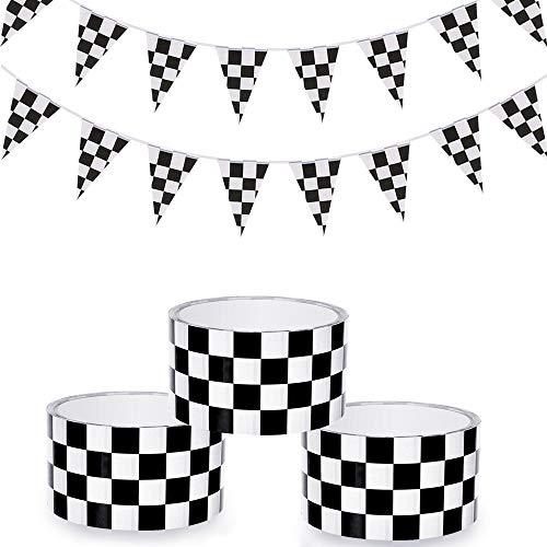Homgaty 3 Rolls Racer Tape, Checkered Tape mit 26 Fuß Zielflagge Banner Kariert Wimpel Banner für Party Supplies & Dekorationen