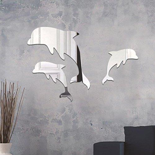Prevently Acryl 3D Dolphin Spiegel Wandaufkleber Cute Dolphin Kombination Spiegeleffekt Wand Aufkleber Decal Home Decor Wandtattoos Kunst Wandbild Decals Schlafzimmer Wohnzimmer Kinderzimmer (Silber) (Elegant Home Decor)