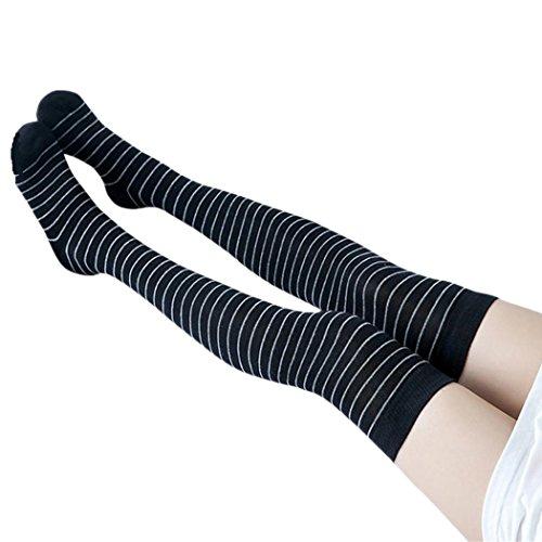 WOCACHI 1Pair Damen Socken Frauen Winter strickte über Knie Lange Stiefel Oberschenkel-hohe gestreifte bedruckte warme Socken Leggings (60-80cm, (Stulpen Trachten 80)