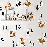 stickers muraux sticker mural Drôle Renard Dans La Forêt Pour Les Chambres D'enfants Décoration Woodland Animasl Arbre Stickers Nordic Home Decor