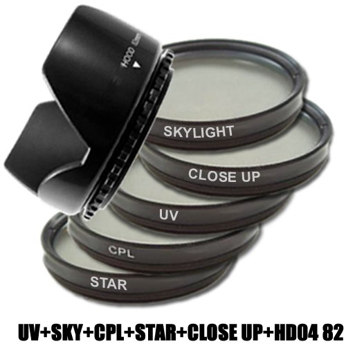 DynaSun Kit Pro 82mm CPL Zirkular Pol/UV/Sternfilter mit Skylight, Nahlinsen und Gegenlichtblende Screen Filter Kit
