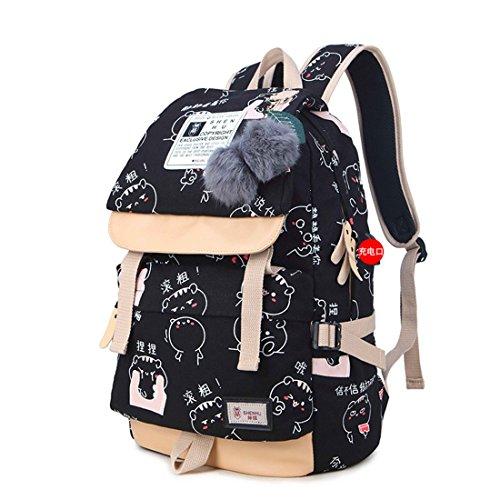 Tclothing Damen Schule Rucksack Casual Mädchen Schultasche Verschleißfest Leinwand Schulrucksack Wasserdicht Groß Kapazität Schoolbag mit USB Port