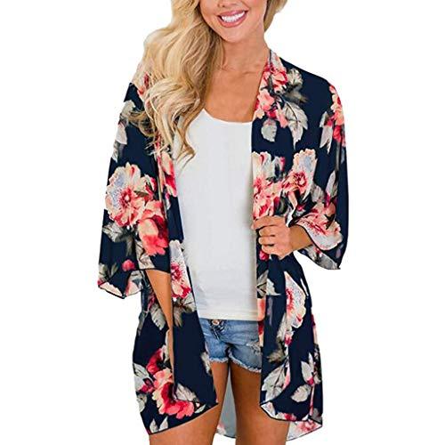 Honestyi Frauen Sommer Strand Blumen Chiffon Kimono Bluse Sonnenschutz Vertuschungen 9085 Kurzärmlige Kimono Strickjacke mit Print für Damen(Marine,L)