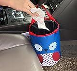 THE EASY RYDER Pop Up Trash Bin Kids Owl Design Trash Bin Car Storage or Rubbish Collection (Blue)