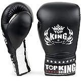 KINGTOP Top King Super Comp - Guantes de Boxeo con Encaje, Color Blanco y Negro