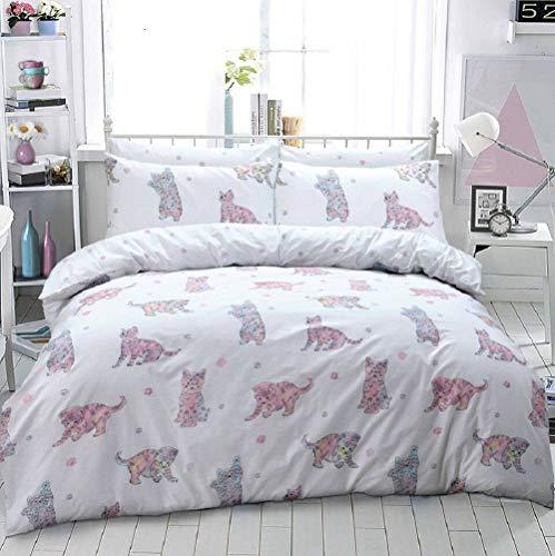 Linens Range® Bettwäsche-Set mit Katzen-Motiv, Poly-Baumwolle, Bettbezug und Kissenbezüge, 2 Farben, Multi, King Size