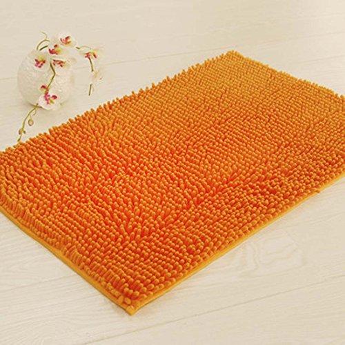 Z&L Home Shag Bad Teppich Shaggy Chenille, Rutschfest, Extra Weich und saugstark Rot Fußmatte für Küche Diele Wohnzimmer Badezimmer Dusche 19''x31'' Orange - Shag Teppich