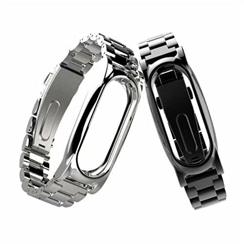 Preisvergleich Produktbild Ersatzband für Xiaomi Miband 2, Kingwo neues Art- und Weisehandgelenk-Band für Xiaomi Mi Band 2 Magnet-Edelstahl-Luxuxhandgelenk-Bügel-MetallWristband 14-21CM (Silber)