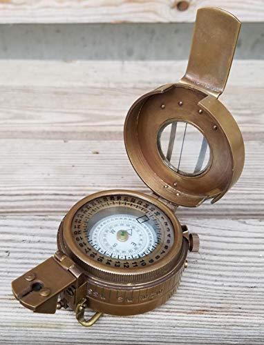 NA Prismatischer Taschen-Kompass aus massivem Messing, nautischer Stil, Britisches Militär, 2. Weltkrieg Mark III