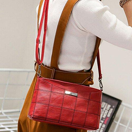 Longra Donna Moda ricamo Linea Lattice singola spalla Oblique Bag Rosso