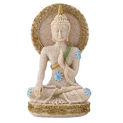 Hztyyier Sandstein Buddha Statue Skulptur Buddha Figur in Sandstein Finish für Home Ornament Dekoration