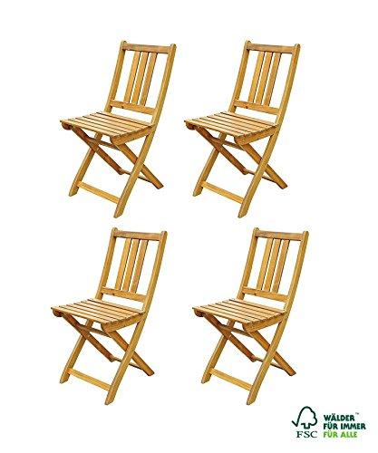 Galleria fotografica SAM® Set economico costituito da 4 sedie da giardino in legno di acacia, pieghevoli, facili da sistemare durante l'inverno, ideali per balconi, terrazzi o giardini, certificato FSC®