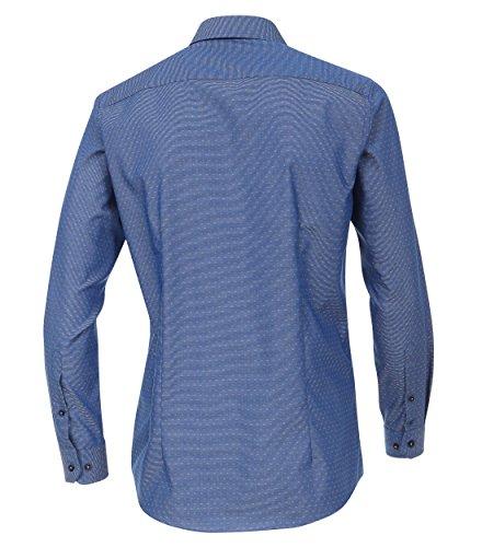 Venti - Slim Fit - Herren Langarm Hemd gestreift aus 100% Baumwolle mit Hai Kragen (172678900) Blau (102)