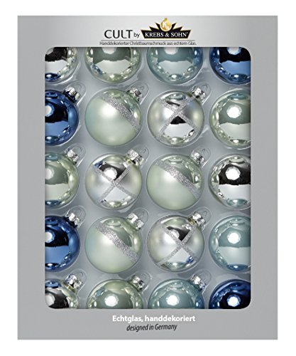 Heitmann DECO Krebs & Sohn Lot DE 20 Boules de Verre – Be Cool Sapin de Noël Originale – Boules de Noël – Argent, Bleu Jeans, Couleurs Pastel